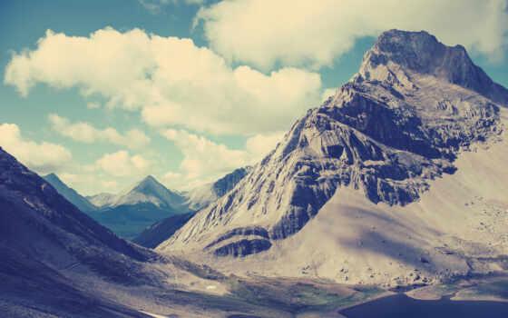 гора, облако, природа, shadow, девушка, landscape
