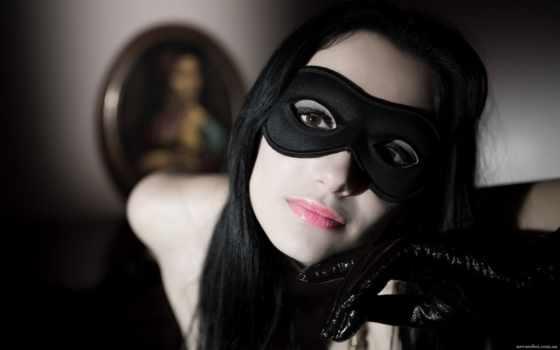devushka, маске, черной, devushki, маска, glaza, разные,