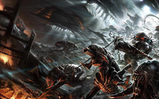 aliens, хищник, comics, три, лошадь, war, dark, world, комикс,