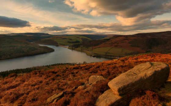 река, холмы, осень, небо, oblaka, камни, hills, взгляд,