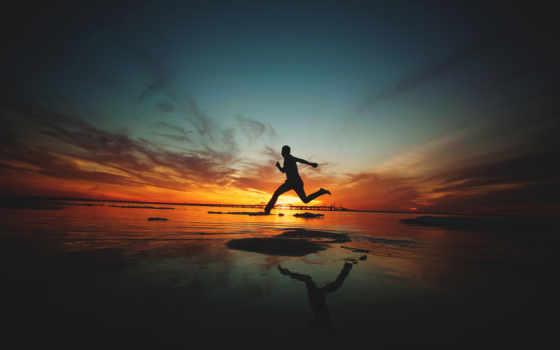 закат, настроение, силуэт, пляж, одиночка, прогулка, resolutions,