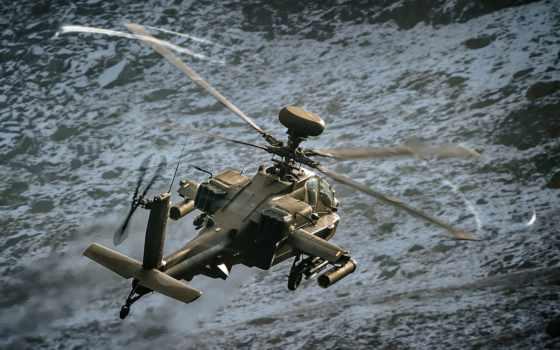 вертолет, военный, apache, ah, attack, солдат