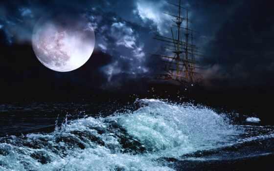 луна, full, корабль, над, rub, ночь, избранных