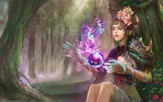 девушка, магия, лес, фея, арт, dahong, huang, картинка,