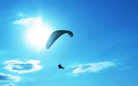 парашют, небо, парень