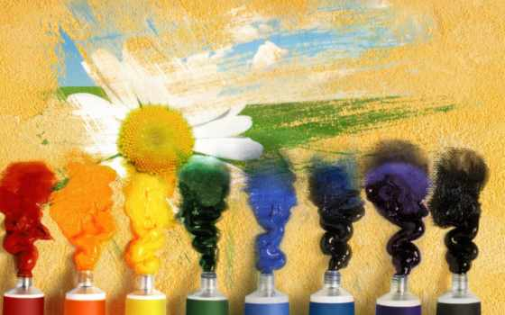 тюбик, краска, радуга, ромашка, поле, небо, облака