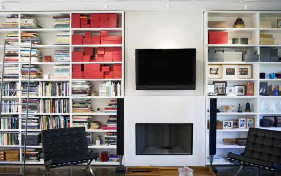 книги, телевизор, колонки