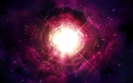 звезды, nebula, сияние