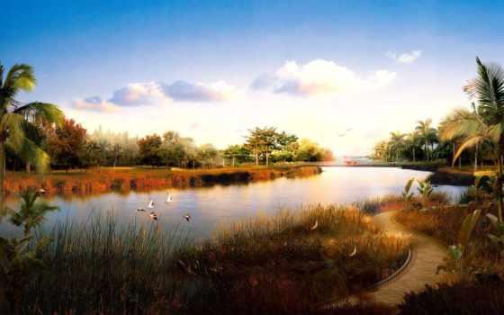природа, река, пейзажи -, китайская, широкоформатные, птицы,