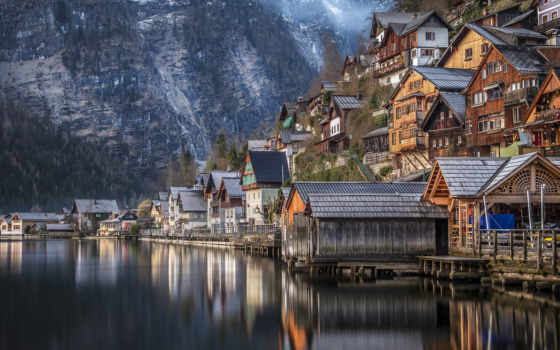 hallstatt, австрия, деревня, places, посещение, озеро, картинка, интересно, огонь, эльф,