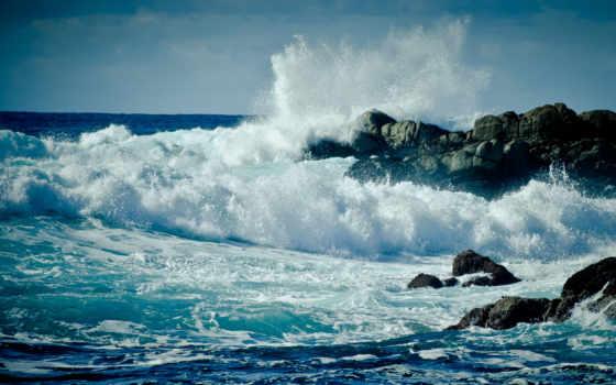 широкоформатные, море, ocean, waves, пейзажи -, water, волна, пенка, берег, drop, капли,