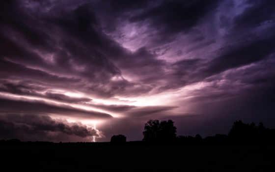 буря, lightning, тучи, небо, поле, молнии,