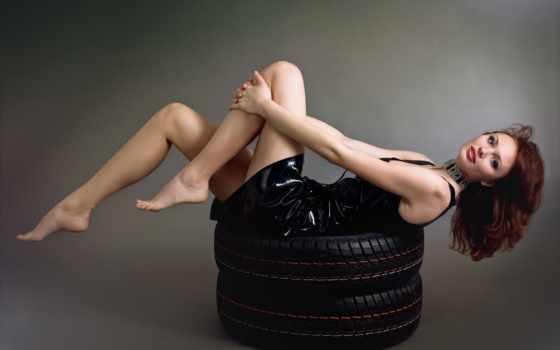 девушка, красивая, настроение, колеса, платье, шинах, улыбка, blonde, лежит, shin,