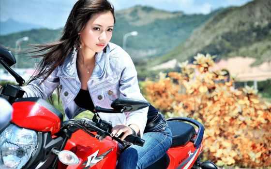 kobieta, pictures, motor, tapety, девушка, jest, мотоцикл, między, pulpit,