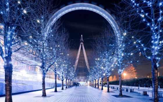 london, eye, освещение, англия, ночь, вечер,