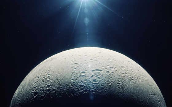 луна, shining, half, cosmos,