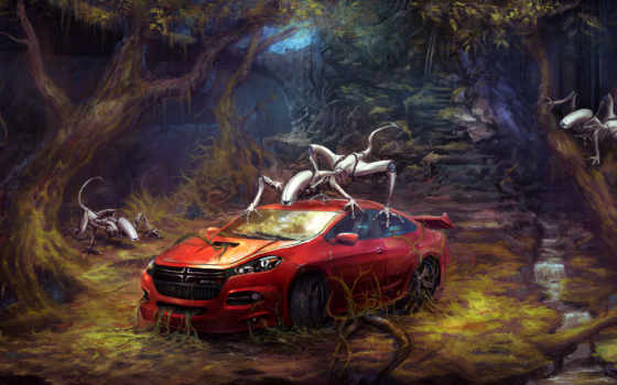 лес, car, red, fantasy, robots, agera, koenigsegg,
