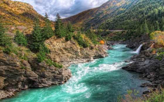 река, kawarau, zealand, new, ущелье, you, mountains, природа,