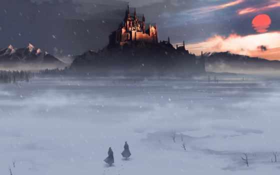 castle, снег, мужчина, winter, fantasy, поле, зимой, всадник,
