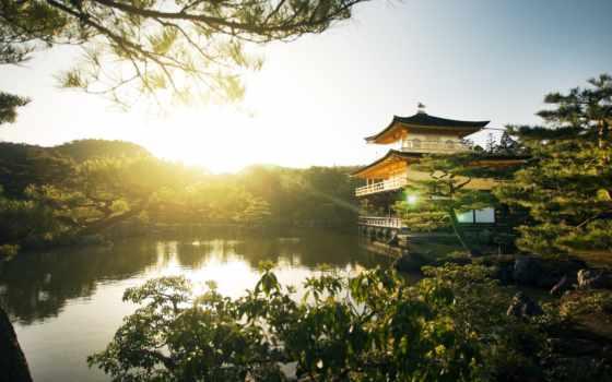 kinkaku, храм, япония, kyoto, золотистый, pavilion,
