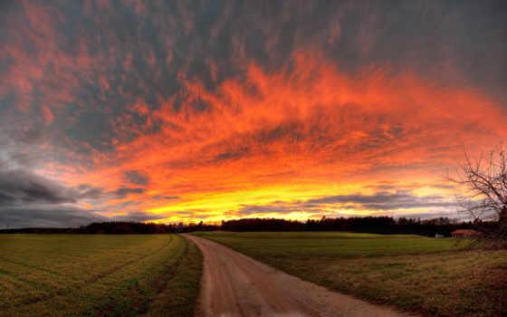 дорога, закат, небо, margin, поле, вечер, деревня, природа,