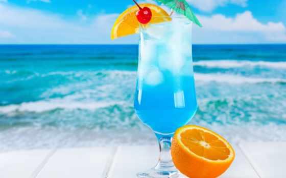 фрукты, коктейль, море, лед, разное, пляж, картинка, cherry, blue, her, fresh,