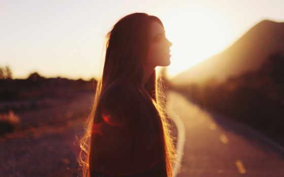 девушка, sun, солнечный, свет, волосы, her, summer, лучик, природа, закат,