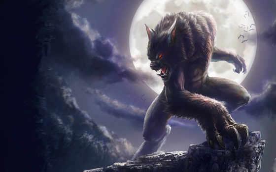 оборотень, мыши, луна, полная, летучие, обрыв, арт, облака, картинку, fantasy, monsters,