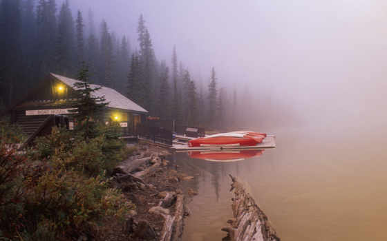 desktop, lake, background, canada, louise, foggy, boat,