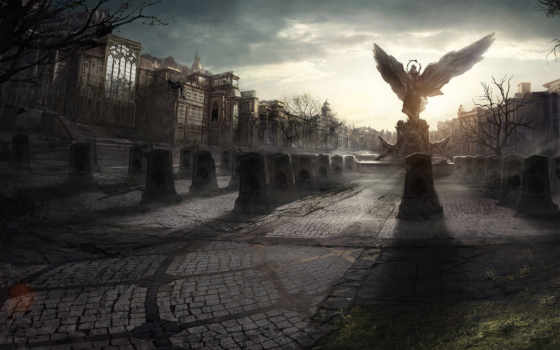 angel, город, статуя