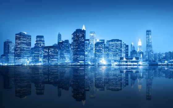 фотообои, город, фотообоев, new, york, сжатый, ночь, картины, города, сша,