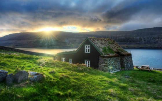 iceland, house, sun, reykjavik, река, горы, высоком, европа, базе,