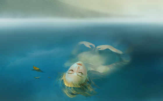 вода, девушка, озеро, туман, волосы, слеза, листья, лежит, лицо, картинка, аниме, enders, صور, lezhit, voda, ozero, devushka, категории,