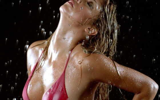 девушки, под, дождь
