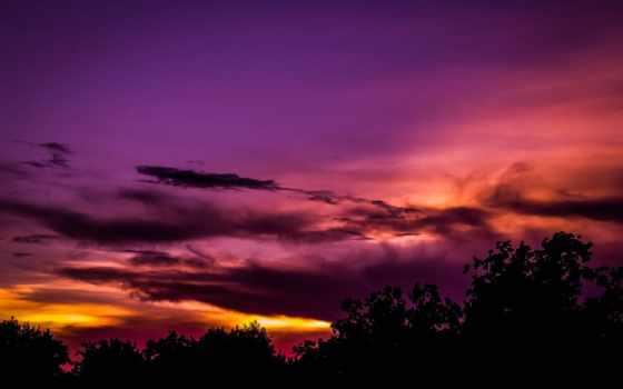 закат, clouds, фон