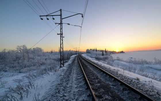 железная, дорога, снег, winter, железной, утро, природа, дороге, движения, chart, favourite,