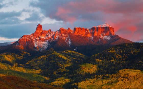 осень, горах, природа, colorado, mountains, магия, одно, река, горы, rock,