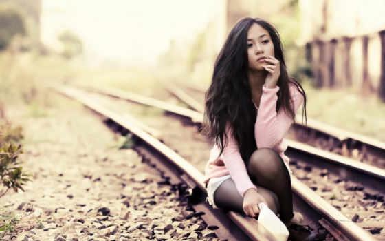 модель, азиатка, железная, дорога, стиль, browse, страница, mobile, девушка,