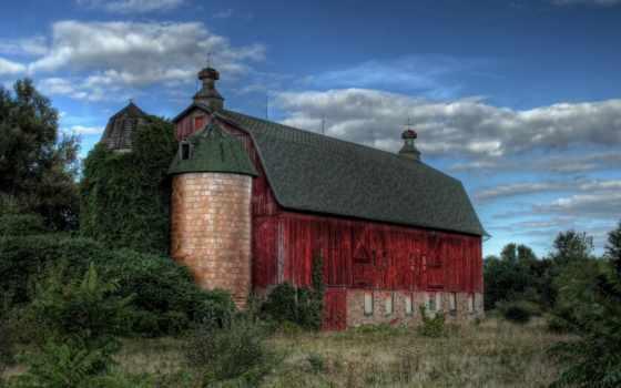 старый, barn, red, дек, mysterious,