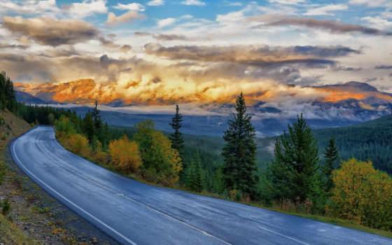 закат, дорога, trees, серпантин,