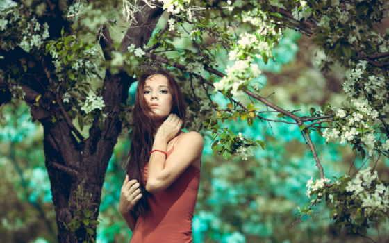 девушка, дерево, abyss, река, garden,
