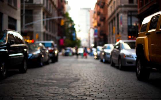 город, улица, здания, машины, дома, дорога, new, размытость, york,
