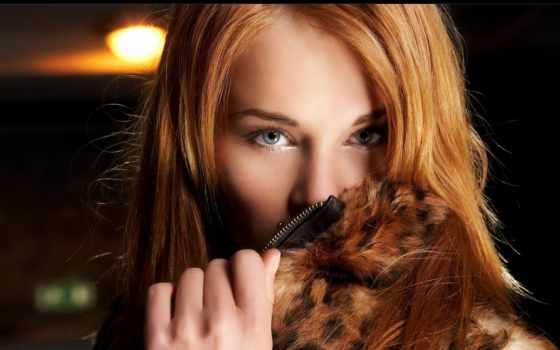 redhead, волос, babe, eyes, мех, print, плакат, волосы, волосами, шубу,