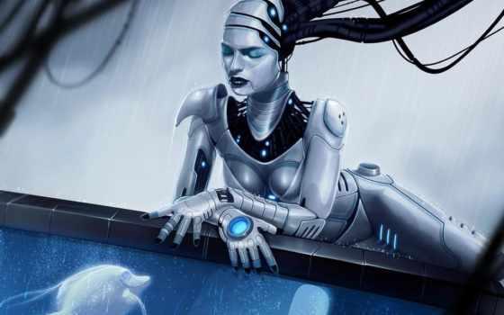 девушка, robot, android, art, fish, аквариум, preview, cyborg,