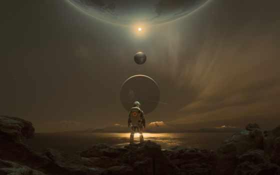 астронавт, planet, scus, космос, digital, art, id, system, солнечный