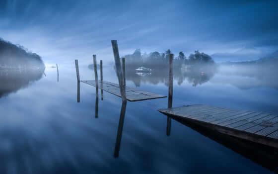 pier, туман, mac, озеро