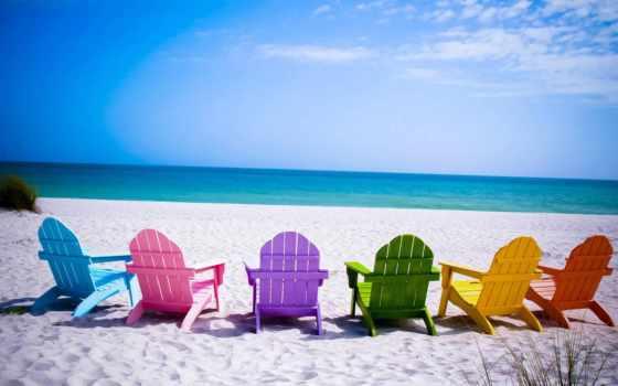 море, песок, пляж, лежак, взгляд,