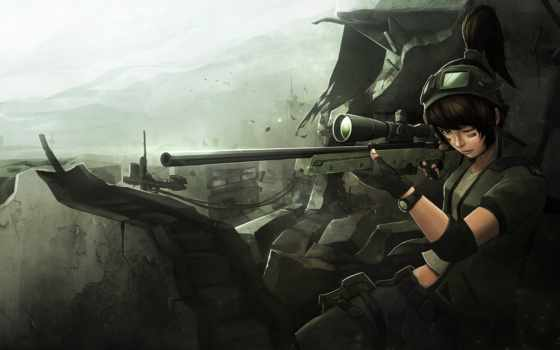 anime, art, снайпер, девушка, разруха, солдат, развалины,