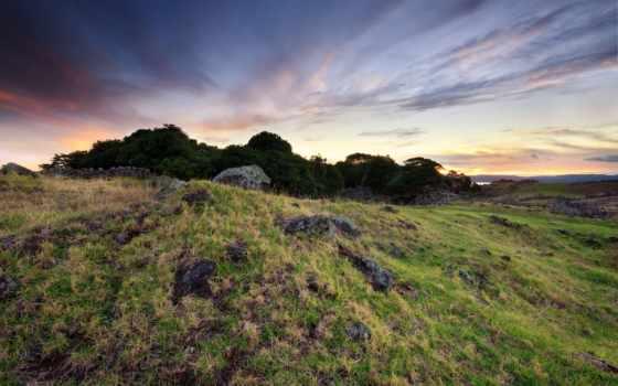 камни, поле, скалы, трава, заката, time, природа, landscape, закат, холмы,