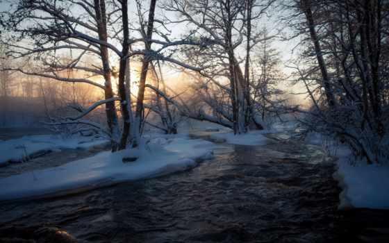 winter, река, reki, макро, снег, природа, моря,